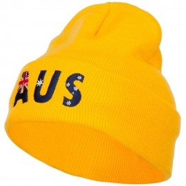 Australia AUS Flag Embroidered Long Beanie