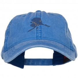 Alaska State Flag Map Embroidered Washed Cap