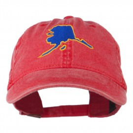 Alaska State Map Embroidered Washed Cap