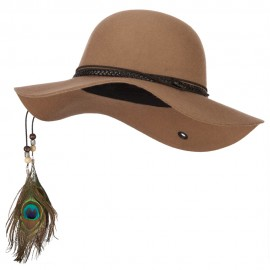 Women's Wool Leather Band Suede Rope Tie with Feather Detailed Bucket Hat