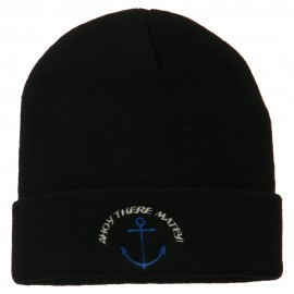 Ahoy There Matey Embroidered Beanie - Black