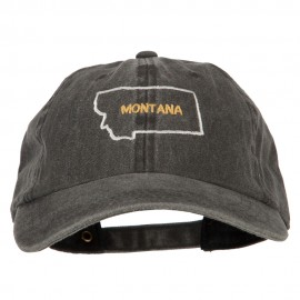 Montana with Map Outline Embroidered Washed Cotton Twill Cap