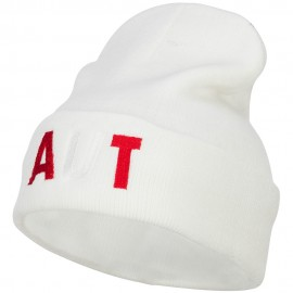 Austria AUT Flag Embroidered Long Beanie