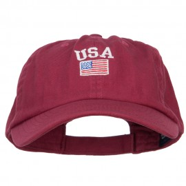 USA with American Flag Embroidered Low Cap