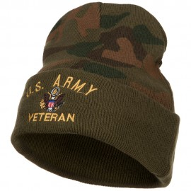 US Army Veteran Military Embroidered Camo Knit Long Beanie