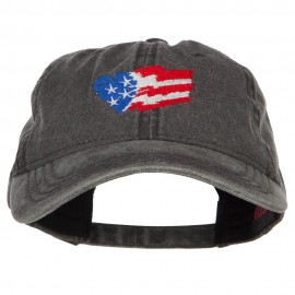 Wave Heart USA Flag Embroidered Washed Cap