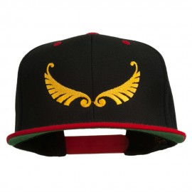 Abstract Wings Design Embroidered Snapback Cap - Black Red