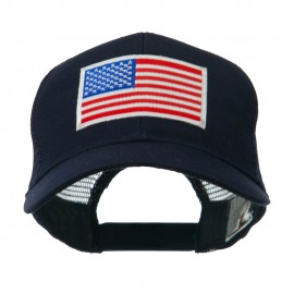 6 Panel Mesh American Flag White Patch Cap - Navy