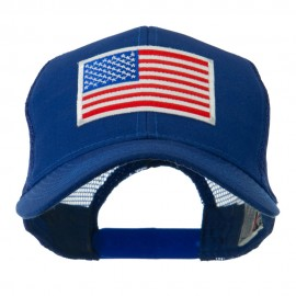 6 Panel Mesh American Flag White Patch Cap - Royal