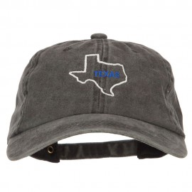 Texas with Map Outline Embroidered Washed Cotton Twill Cap