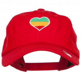Rasta Heart Embroidered Unstructured Cap