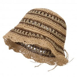 Paper Straw Braid Flower Bucket Hat - Tan Brown