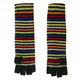 Black Bright Striped Fingerless Glove
