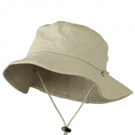 Big Size Washed Bucket Hat with Chin Cord - Putty
