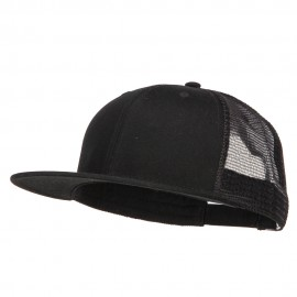 Big Size Premium Flat Bill Trucker Cap - Black