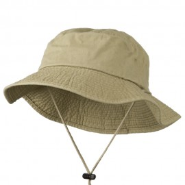 Big Size Washed Bucket Hat with Chin Cord - Khaki