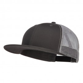 Big Size Premium Flat Bill Trucker Cap - Charcoal Grey