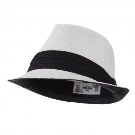 Toyo Fedora Hat with Black Band - White