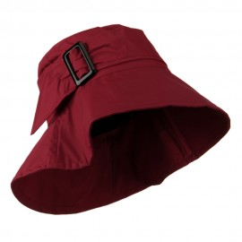 Woman's Nylon Buckle Band Hat - Dark Red