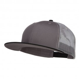Big Size Premium Flat Bill Trucker Cap - Black Charcoal