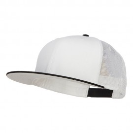 Big Size Premium Flat Bill Trucker Cap - Black White