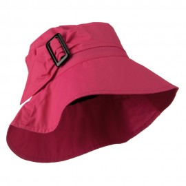 Woman's Nylon Buckle Band Hat - Hot Pink