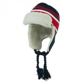 Contrast Jacquard Striped Knit Hat