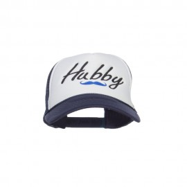 Hubby Mustache Embroidered Foam Mesh Cap