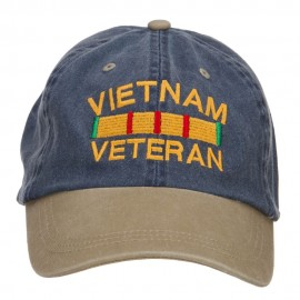 Vietnam Veteran Embroidered Washed Two Tone Cap - Navy Khaki