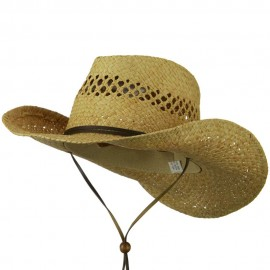 Wired Brim Chin Chord Raffia Cowboy Hat