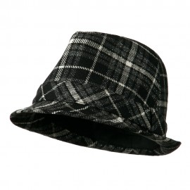 Women's Black And Charcoal Plaid Fedora - Black Charcoal