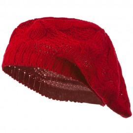 Big Cable Knitted Beret - Red