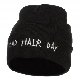 Bad Hair Day Embroidered Long Beanie