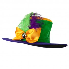 Ladies Mardi Gras Hat with Bowtie and Feather