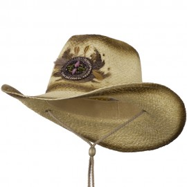 Painted Cowboy Hat with Badge and Feather