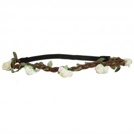 Rose Flower Hippie Headband - Cream