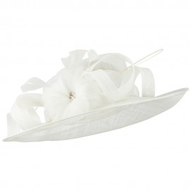 Curly Bow and Flower Sinamay Hat - White