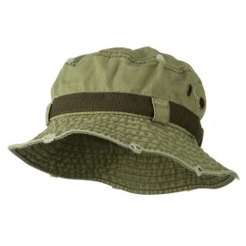 Big Size Frayed Cotton Washed Bucket Hat - Khaki