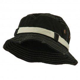 Big Size Frayed Cotton Washed Bucket Hat - Black