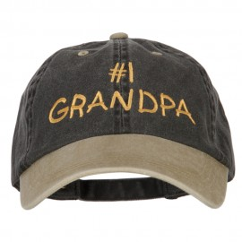 Number 1 Grandpa Letters Embroidered Pigment Dyed Wash Cap