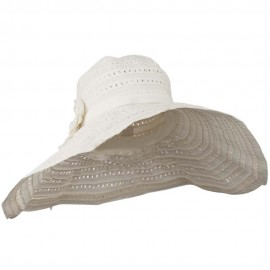 Toyo Braid Hat with Flower Accent - White