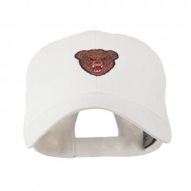 Bear Head Mascot Embroidered Cap - White
