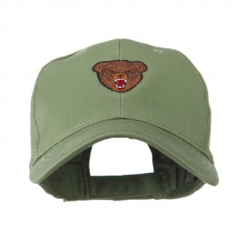 Bear Head Mascot Embroidered Cap - Olive