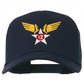 12th Air Force Badge Embroidered Mesh Cap - Navy