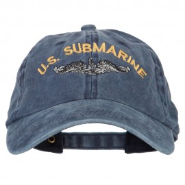 US Submarine Logo Military Embroidered Washed Cotton Twill Cap - Navy