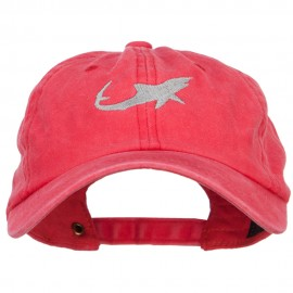 Shark Shape Embroidered Washed Cotton Cap