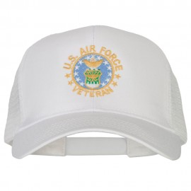 US Air Force Veteran Circle Embroidered Solid Cotton Mesh Pro Cap