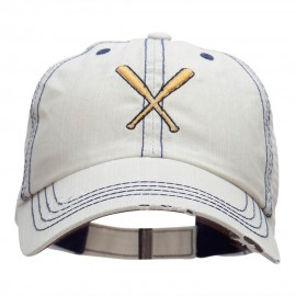 Crossed Bats Embroidered Low Profile Special Cotton Mesh Cap