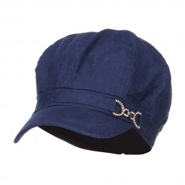 Women's Buckle Band Newsboy Hat
