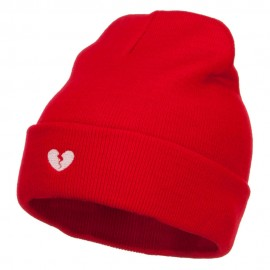 Mini Broken Heart Embroidered Long Beanie - Red